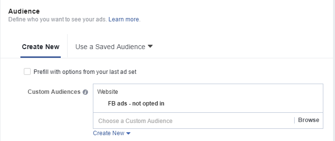 Set up your ad with the custom audience you've just created